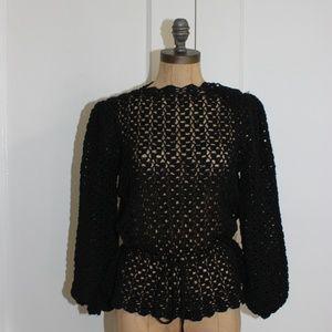 Vintage Oscar De La Renta Knit Crochet Top